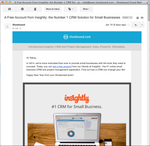Insightly Email Advertisement